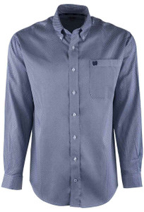Cinch Navy Printed Tencel Sport Shirt - Front