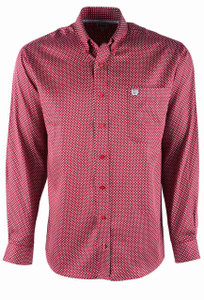 Cinch Red Diamond Weave Tencel Sport Shirt - Front