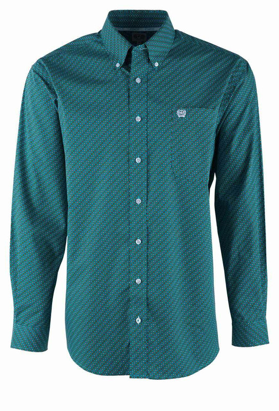 Cinch Turquoise Dot Print Sport Shirt - Front