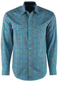 Stetson Blue Vintage Scroll Snap Shirt - Front