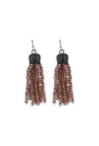 Ticklebutton Jewels Mini Crystal Tassel Earrings - Blush