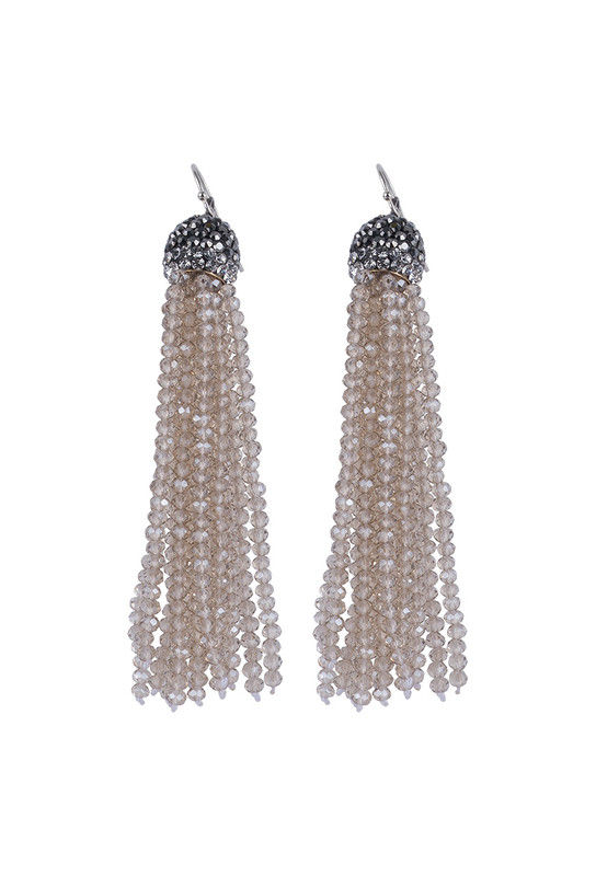 Ticklebutton Jewels Large Crystal Tassel Earrings - Champage