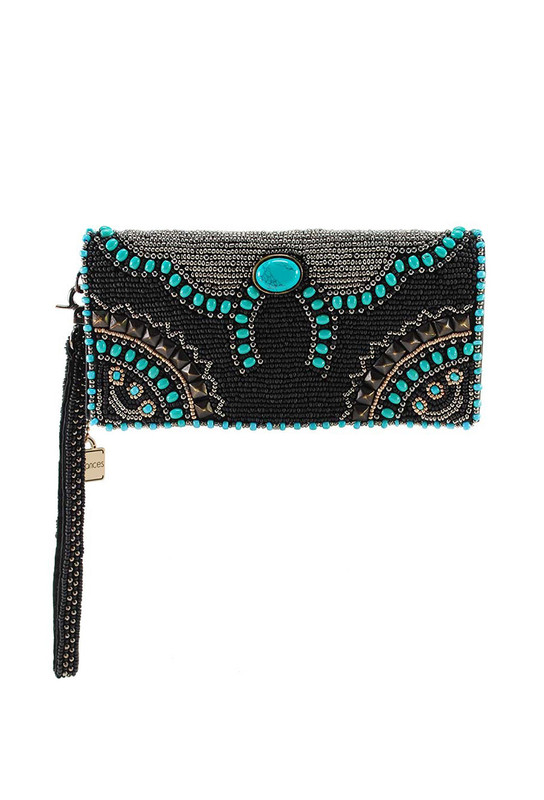 MARY FRANCES SQUASH BLOSSOM BEADED CROSSBODY WALLET