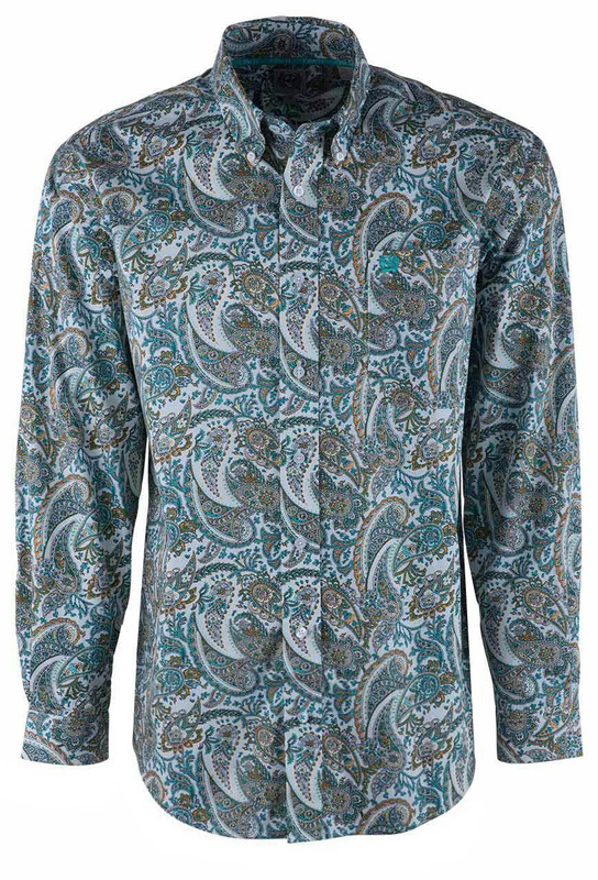 Cinch Yellow Light Blue and Orange Paisley Sport Shirt - Front