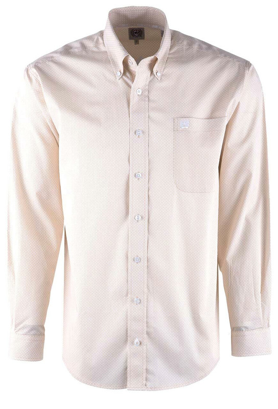 Cinch Khaki Diamond Stripe Sport Shirt - Front
