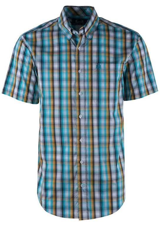 Cinch Turquoise Gold Plaid ArenaFlex Shirt - Front