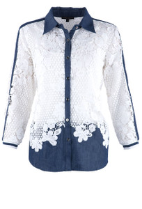 Alberto Makali Women's White Lace and Denim Shirt - Front