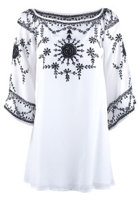 Vintage Collection Pearl White Tunic with Black Trim - Front
