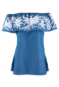 Nativa Women's Black Otomi Vuelo Blouse -  Chambray- Front