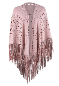 Origami Whipstitch Faux Suede Fringe Shawl - Pink - Front