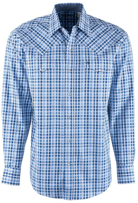 Stetson Blue Satin Ombre Check Snap Shirt - Front