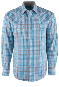 Stetson Blue Sunset Plaid Snap Shirt - Front
