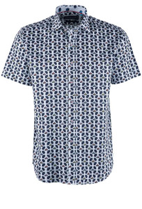David Smith Scooter Print Short Sleeve Shirt - Front