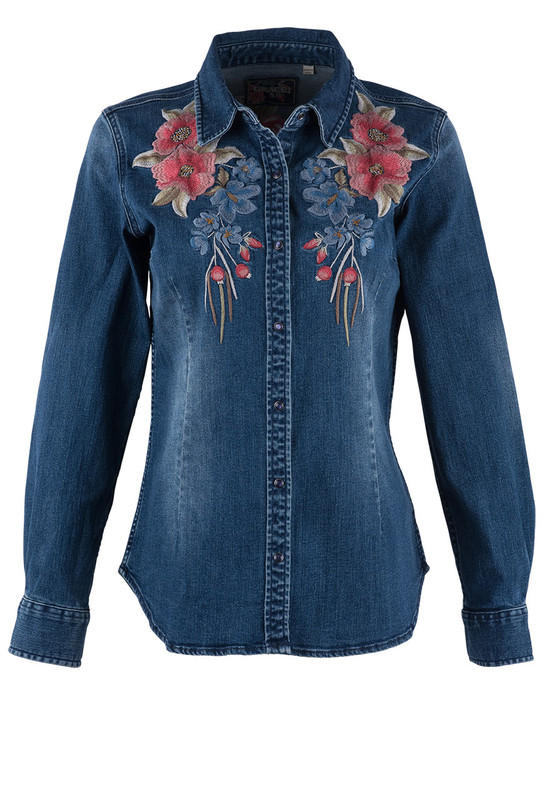 Grace in L.A. Denim Peach Floral Shirt - Front