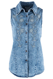 Lola P Natural Denim Sleeveless Top - Front