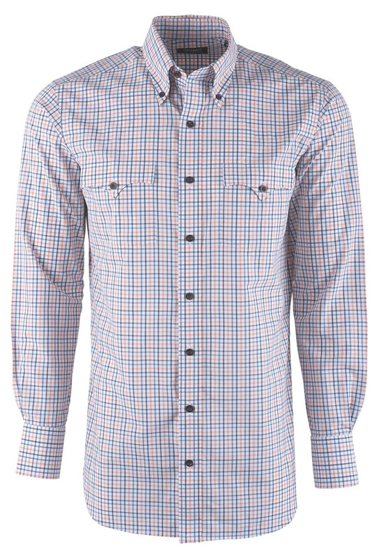 Lyle Lovett Men's White Tangerine and Teal Twill Check Shirt - Front