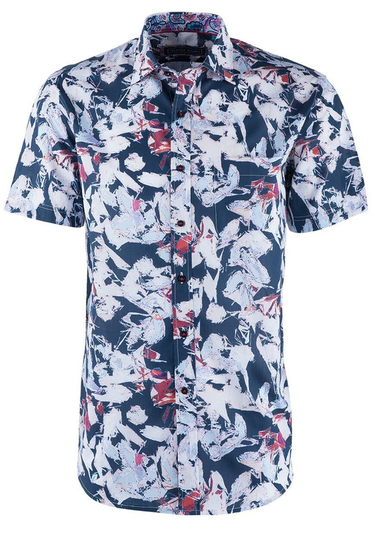David Smith Jambalaya Print Short Sleeve Shirt - Front