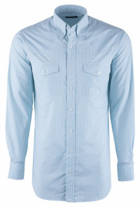 Pinto Ranch YY Collection Green and Navy Check Poplin Shirt - Front