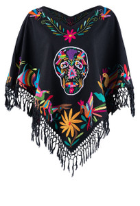 Nativa Women's Black Otomi Sugar Skull Poncho - Front