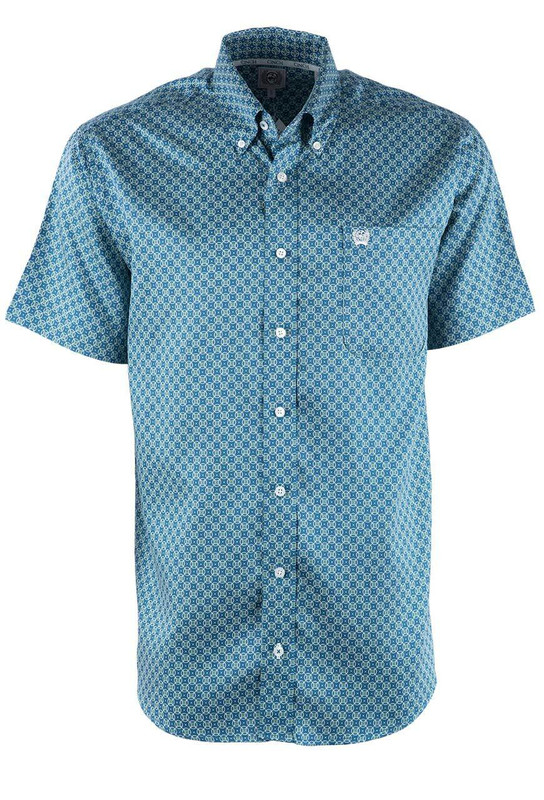 Cinch Teal Circles Short Sleeve Sport Shirt - Front