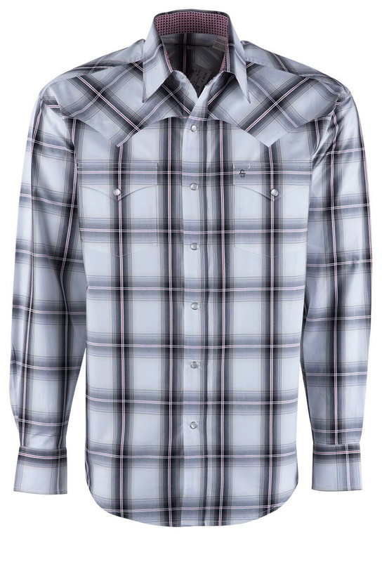 Stetson Black & White Ombre Snap Shirt - Front
