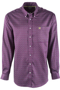 Cinch Purple and Lime Mini Paisley Tencel Sport Shirt - Front
