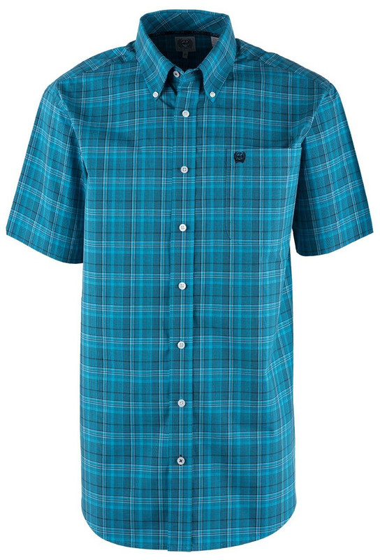 Cinch Teal Plaid Short Sleeve Sport Shirt - Front