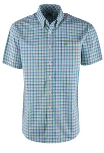 Cinch Cream Plaid Short Sleeve Sport Shirt  - Front