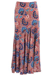 Lola P Floral Orange & Blue Flower Skirt - Front
