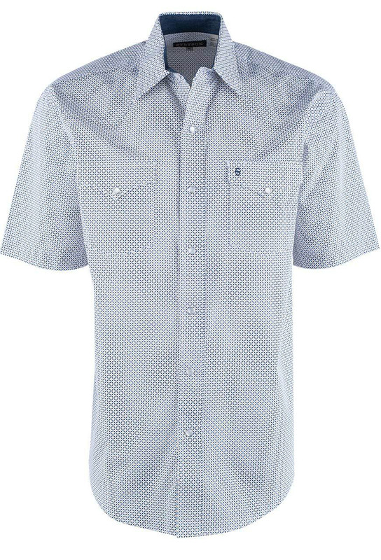 Stetson Blue North Star Geometric Short Sleeve Snap Shirt - Front