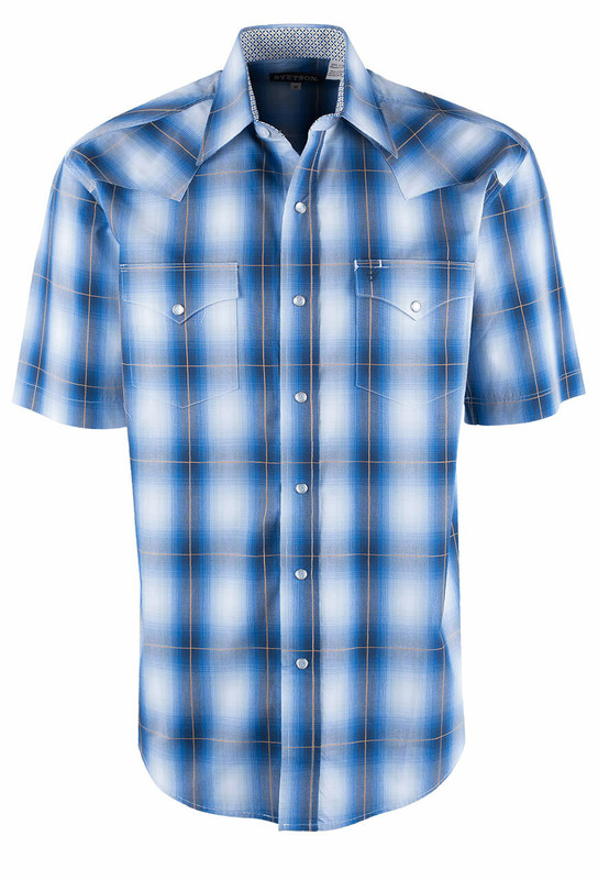 Stetson Crystal Blue Ombre Plaid Short Sleeve Snap Shirt - Front