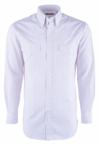 Pinto Ranch YY Collection Pink & Blue Check Poplin Shirt - Front