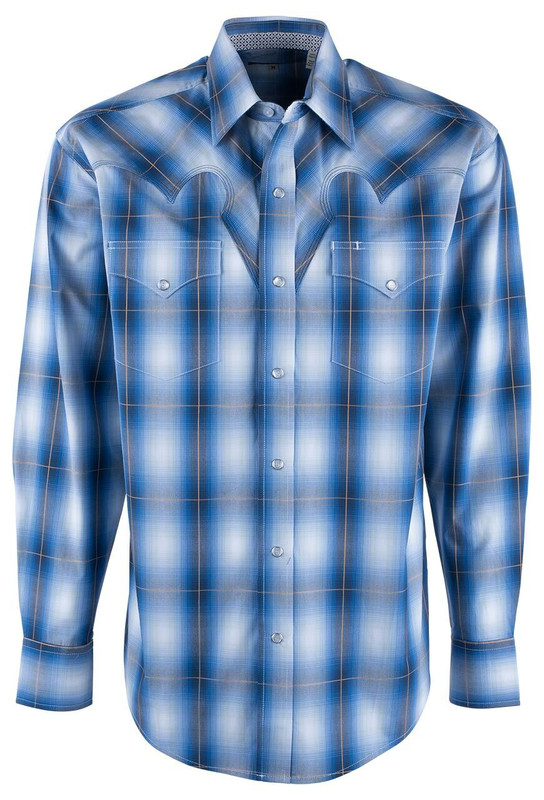 Stetson Crystal Blue Ombre Plaid Long Sleeve Snap Shirt - Front