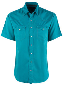"Madison Creek Turquoise Silk ""Bisley"" Snap Shirt - Front"