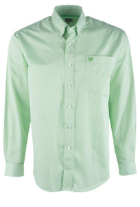 Cinch Lime Stripe Tencel Sport Shirt - Front
