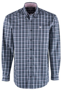 Cinch Gray & Pink Plaid Sport Shirt - Front
