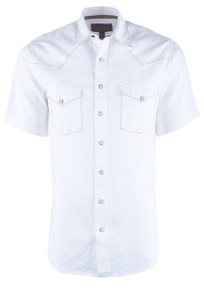 "Madison Creek White Linen ""Bisley"" Snap Shirt - Front"