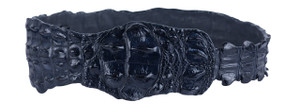 Kulu Dark Blue Crocodile Fashion Belt - Medium