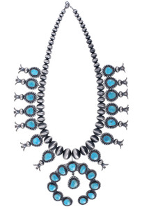 Turquoise Moon Squash Blossom Statement Necklace - Front