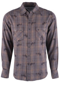 Ryan Michael Men's Bucking Horse Ombre Plaid Shirt - Front