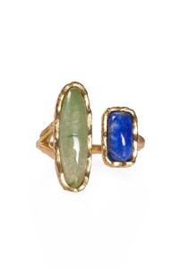 Christina Greene Deco Twin Aventurine & Lapis Ring