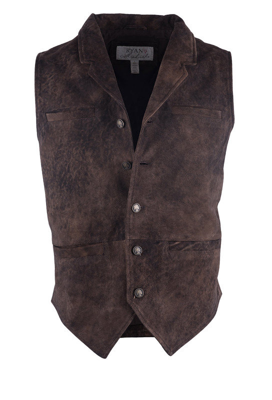 Ryan Michael Men's Suede Vest - Front