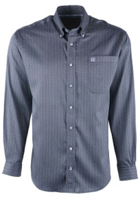Cinch Gray Tencel Diamond Lock Print Sport Shirt