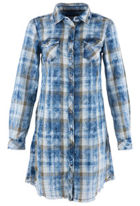 Ryan Michael Women's Lakeside Indigo Plaid Snap Dress  - Front