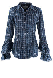 Ryan Michael Women's Denali Print Top With Tiered Sleeves - Front