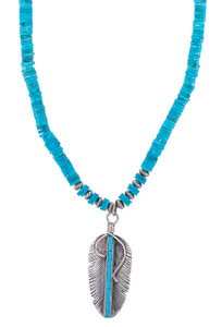 DK Designs Nacazori Turquoise Necklace with Sterling Silver Feather - Closeup