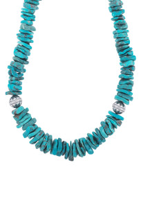 DK Designs Arizona Turquoise Necklace with Silver Beads - Closeup
