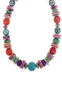 DK Designs Multi Gemstone Necklace with Silver Beads - Closeup