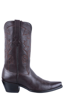 Stallion Chocolate Italian Calf Cowgirl Boots - Side
