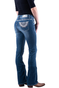 Grace in L.A. Sunburst Feathers Embroidered Boot cut Jeans - Hero